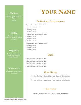 Sample resume free download professional